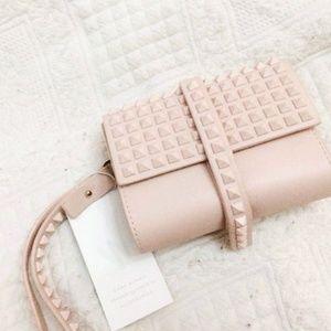 Zara Blush Pink Nude Studded Clutch Wristlet